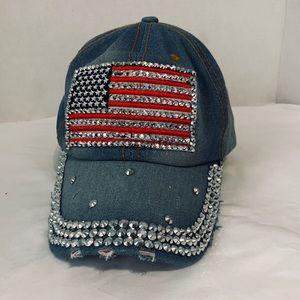 USA flag bedazzled denim hat